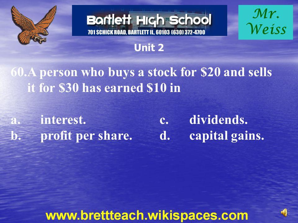 b. profit per share. d. capital gains.