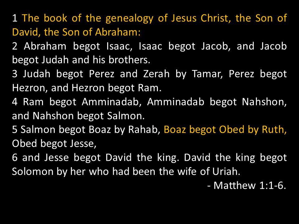 1 The book of the genealogy of Jesus Christ, the Son of David, the Son of Abraham:
