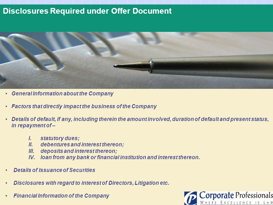 Disclosures Required under Offer Document
