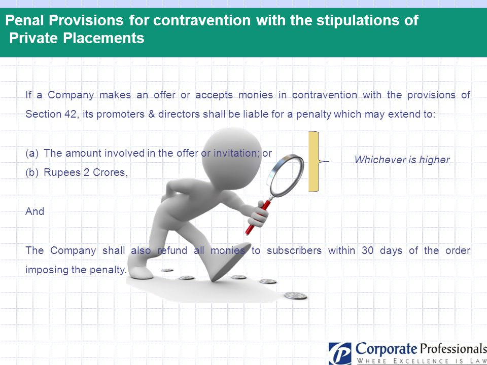 Penal Provisions for contravention with the stipulations of