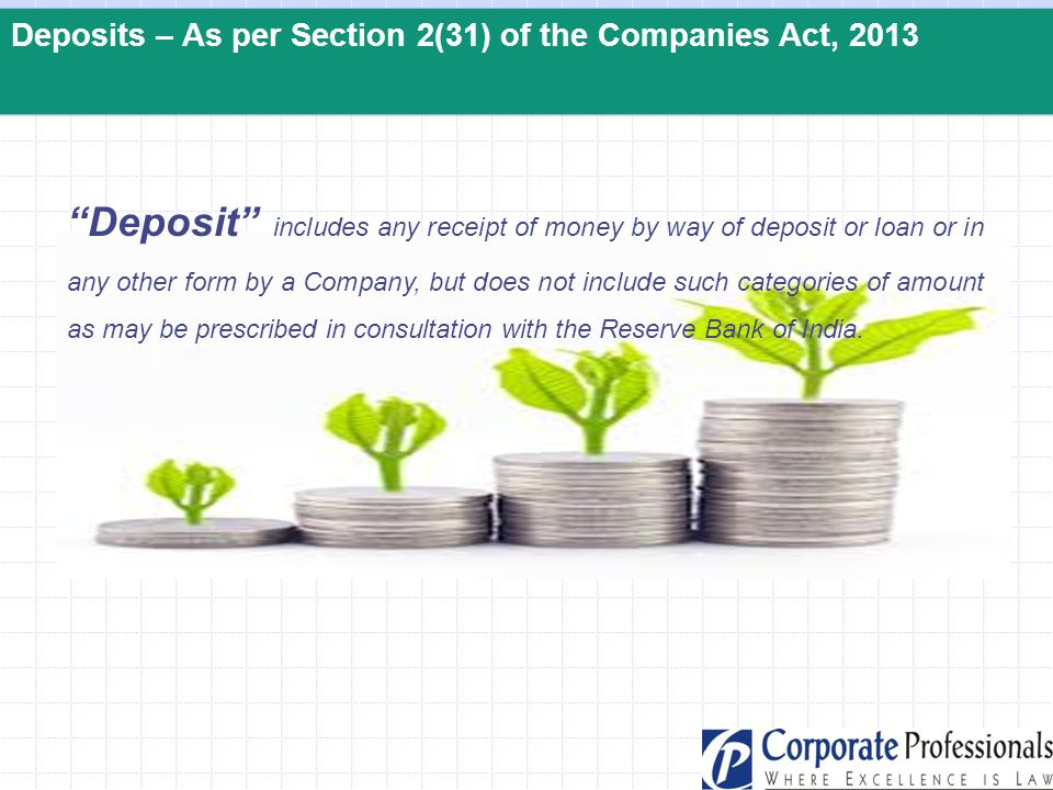 Deposits – As per Section 2(31) of the Companies Act, 2013