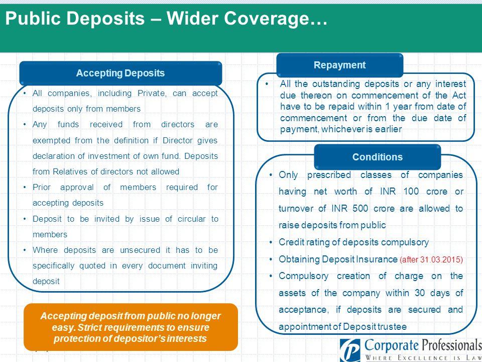 Public Deposits – Wider Coverage…