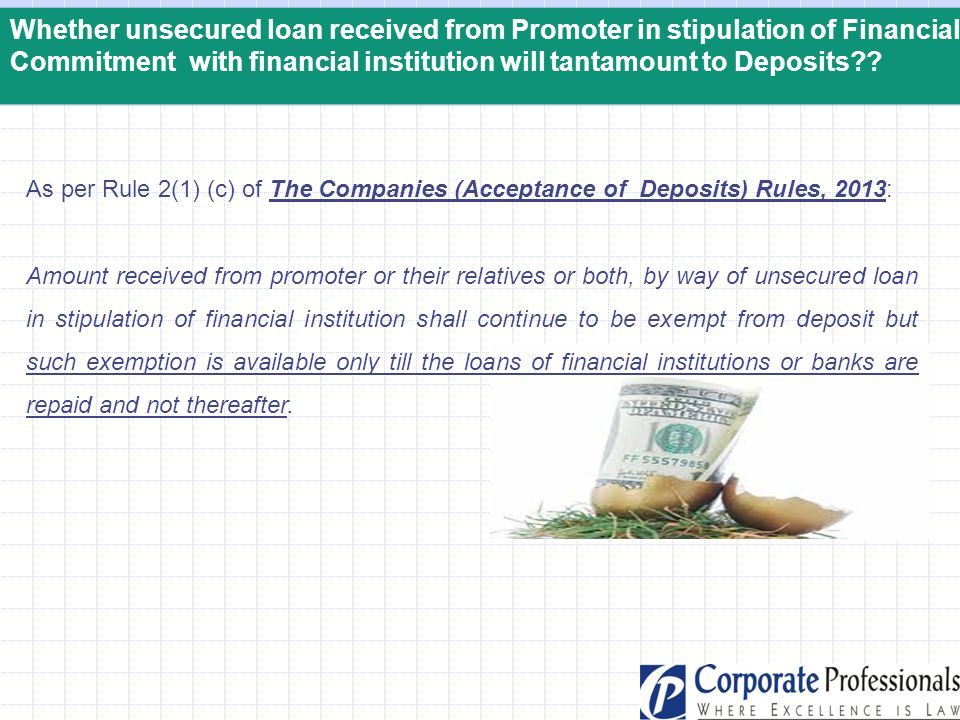 Commitment with financial institution will tantamount to Deposits