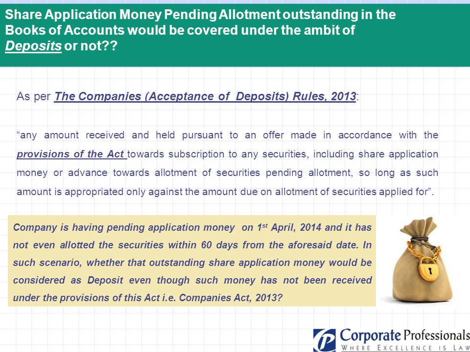 Share Application Money Pending Allotment outstanding in the