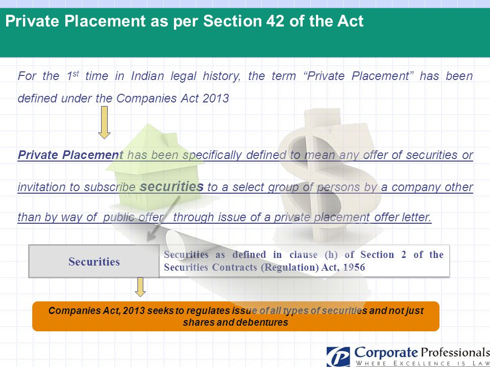 Private Placement as per Section 42 of the Act