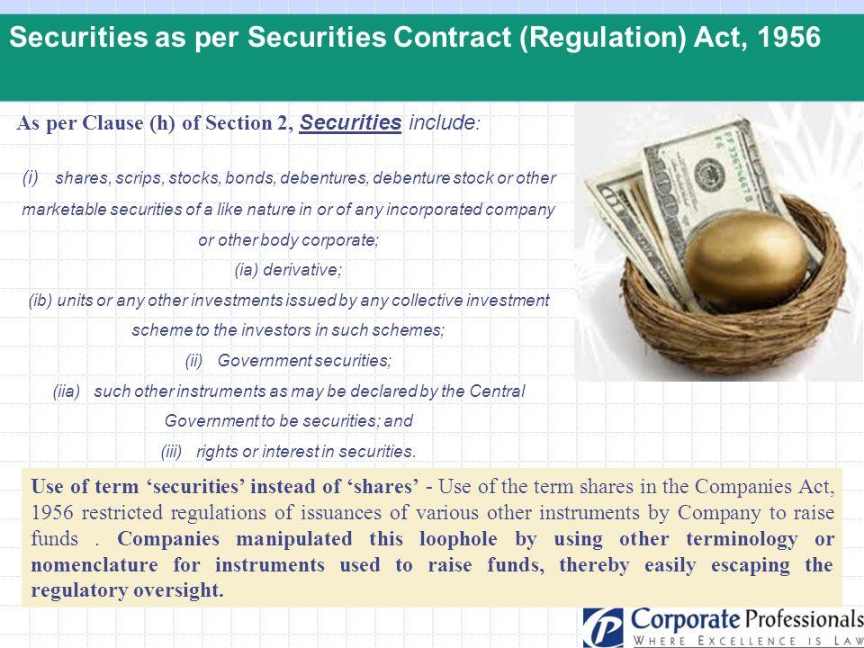 Securities as per Securities Contract (Regulation) Act, 1956