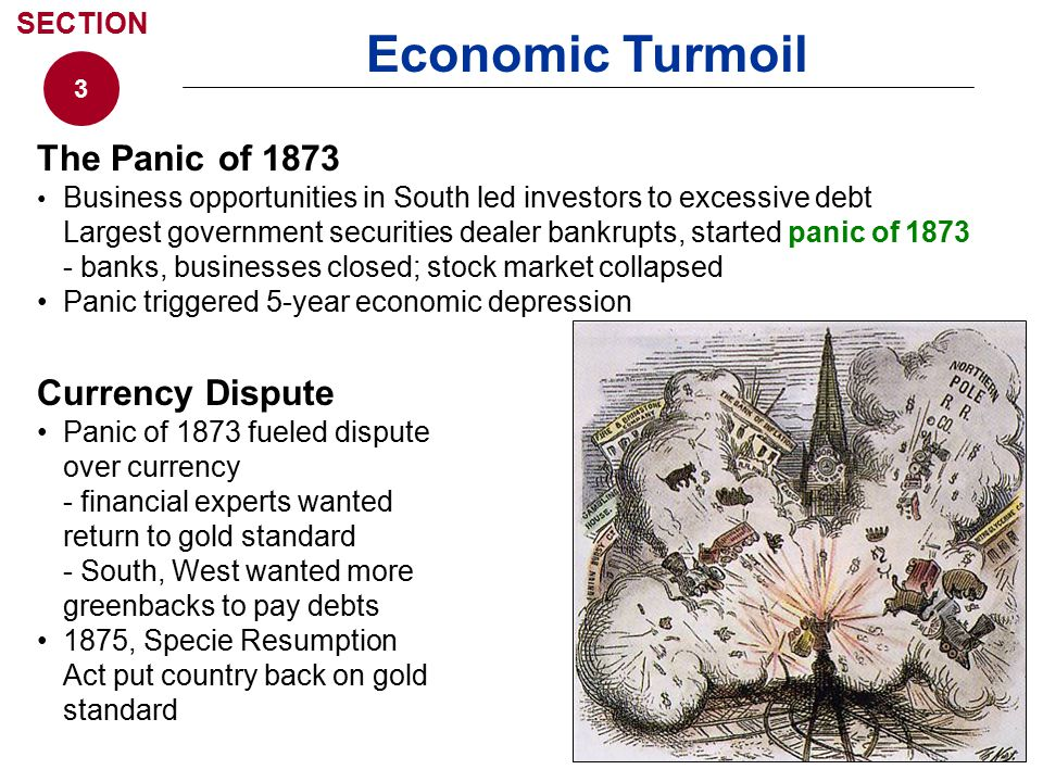 Economic Turmoil The Panic of 1873 Currency Dispute SECTION