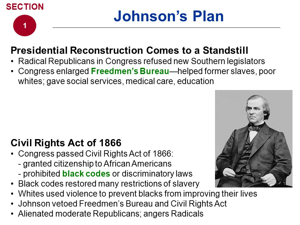 Johnson's Plan Presidential Reconstruction Comes to a Standstill
