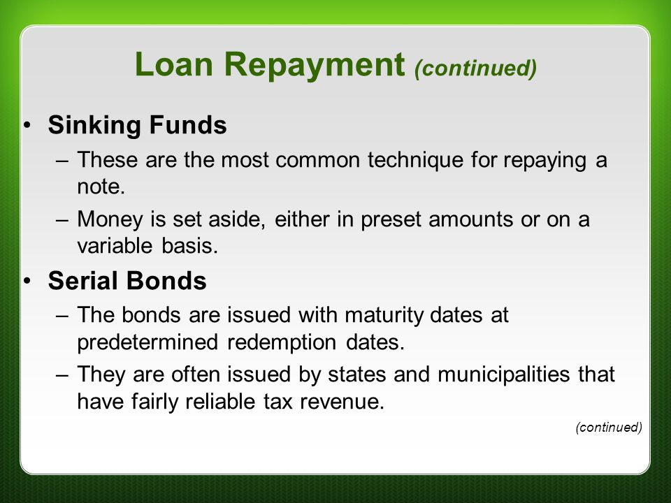 Loan Repayment (continued)