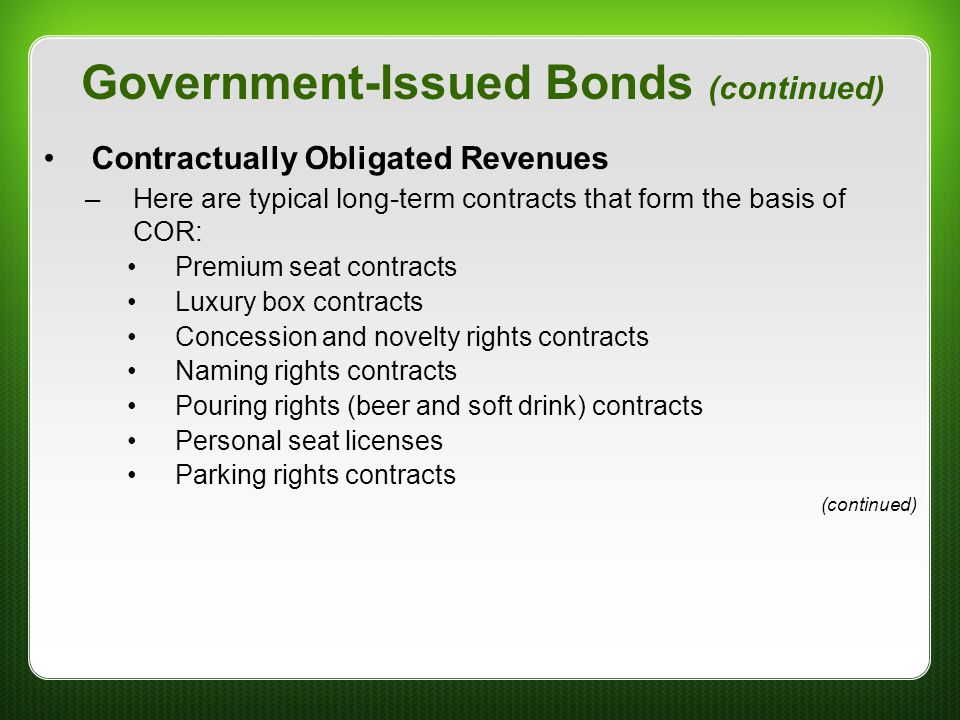 Government-Issued Bonds (continued)