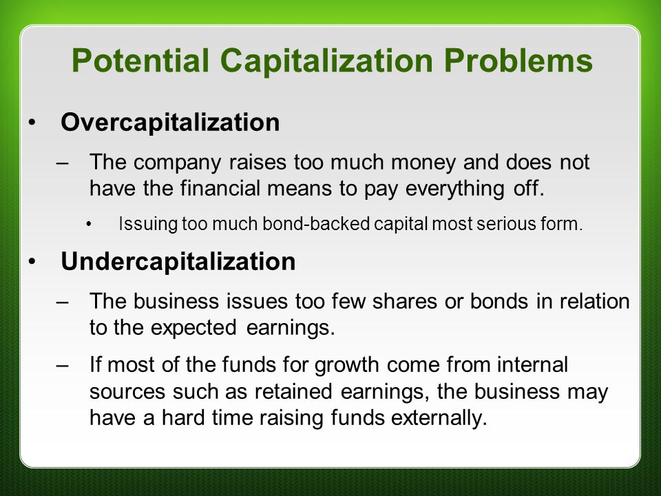 Potential Capitalization Problems