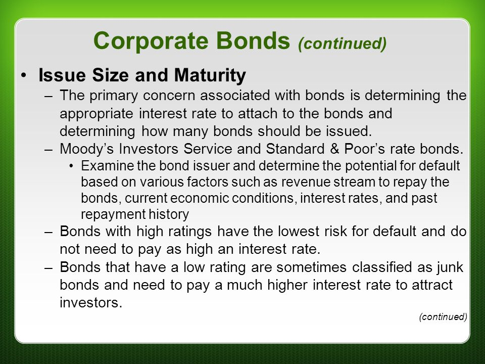 Corporate Bonds (continued)
