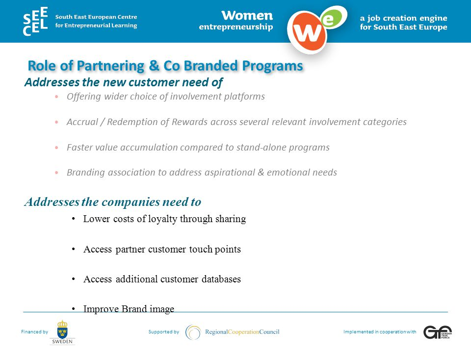 Role of Partnering & Co Branded Programs
