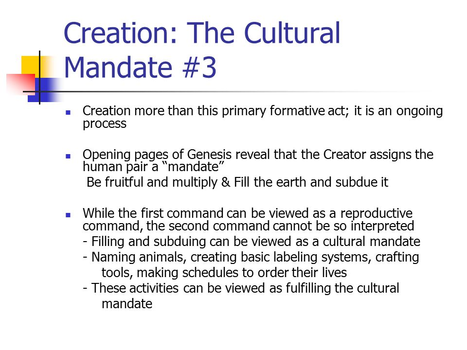 Creation: The Cultural Mandate #3