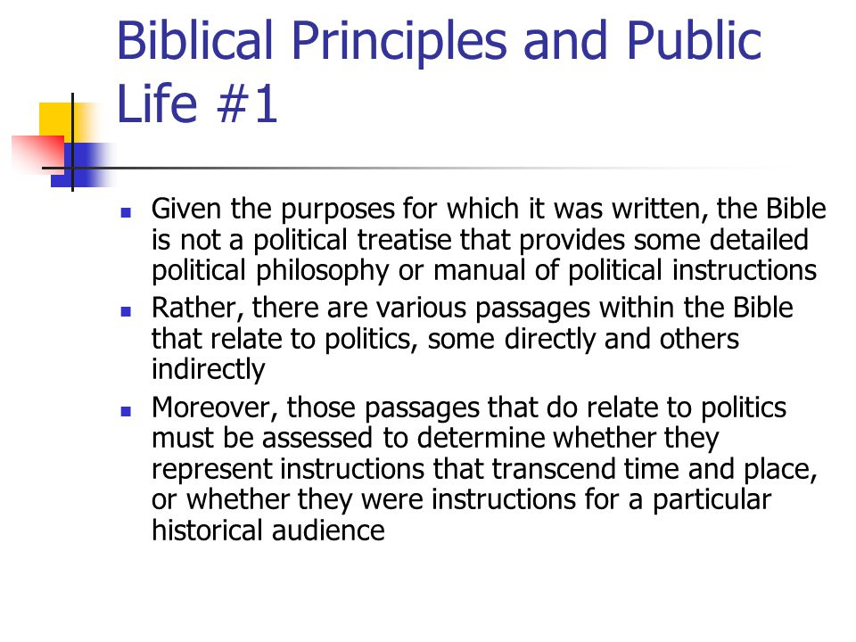 Biblical Principles and Public Life #1
