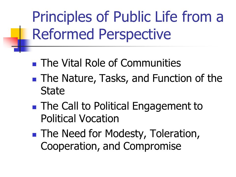 Principles of Public Life from a Reformed Perspective
