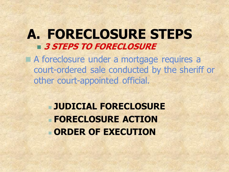FORECLOSURE STEPS 3 STEPS TO FORECLOSURE.