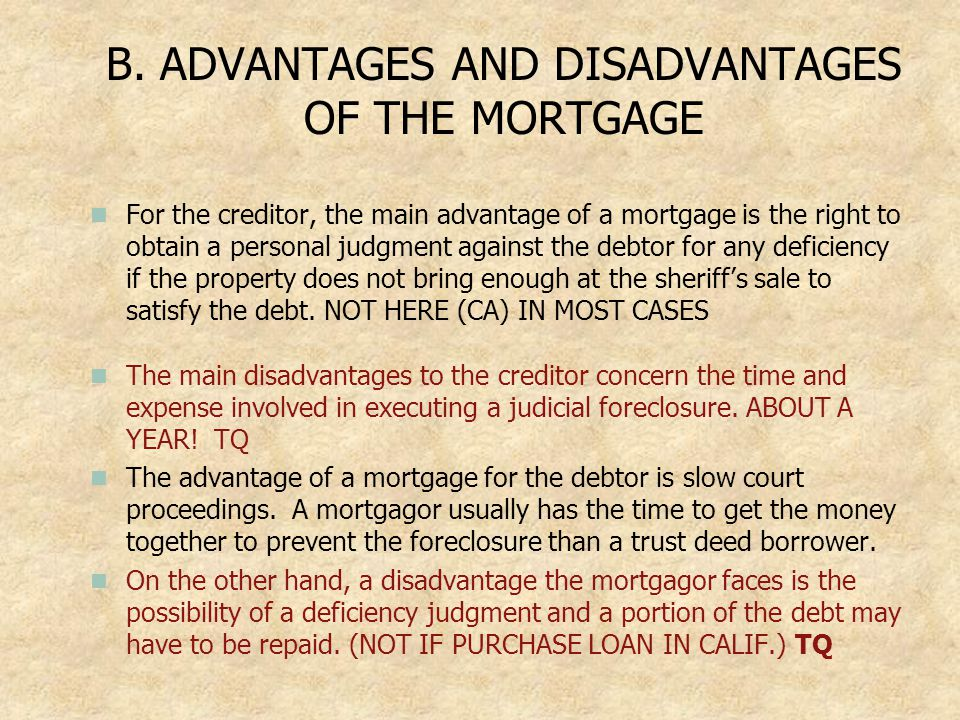 B. ADVANTAGES AND DISADVANTAGES OF THE MORTGAGE