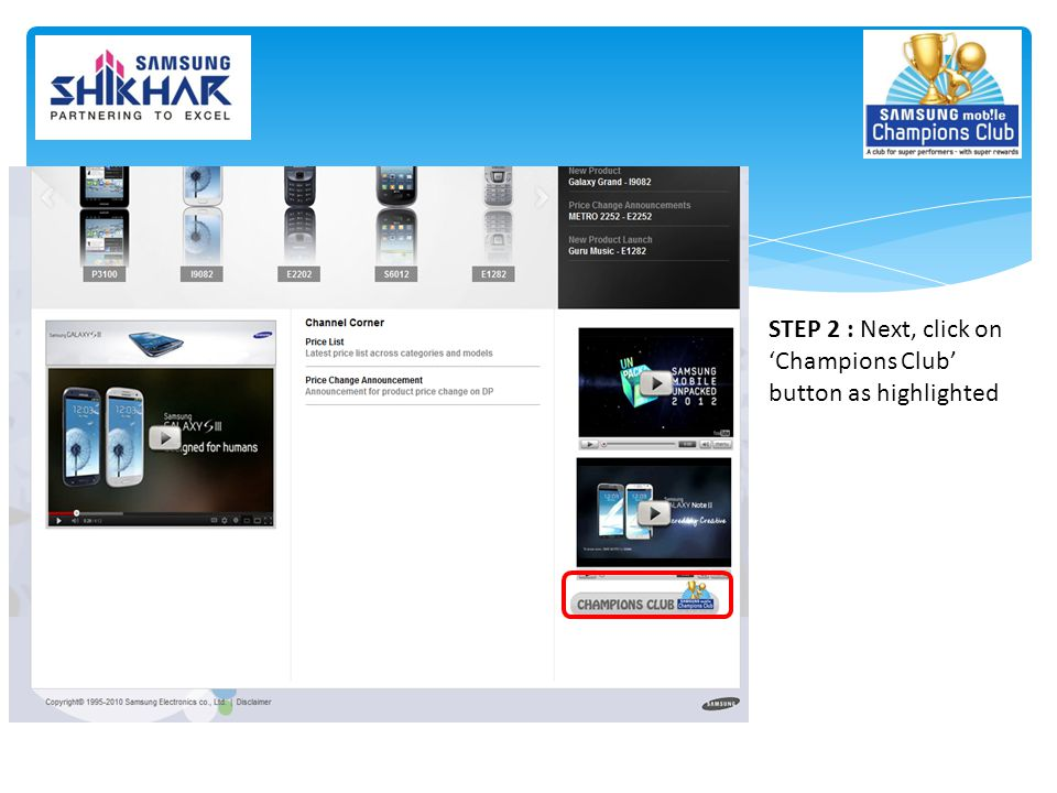 STEP 2 : Next, click on 'Champions Club' button as highlighted