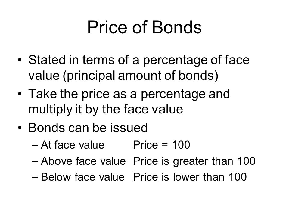 Price of Bonds Stated in terms of a percentage of face value (principal amount of bonds)
