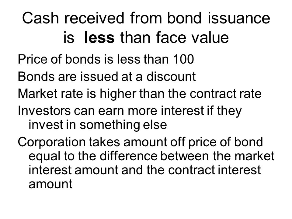 Cash received from bond issuance is less than face value