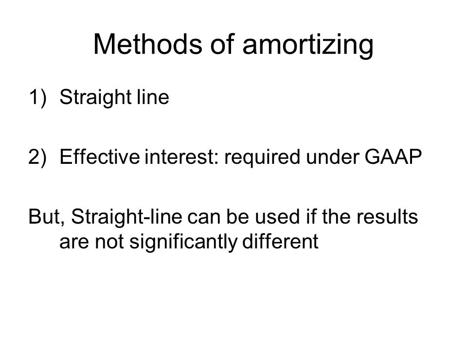 Methods of amortizing Straight line