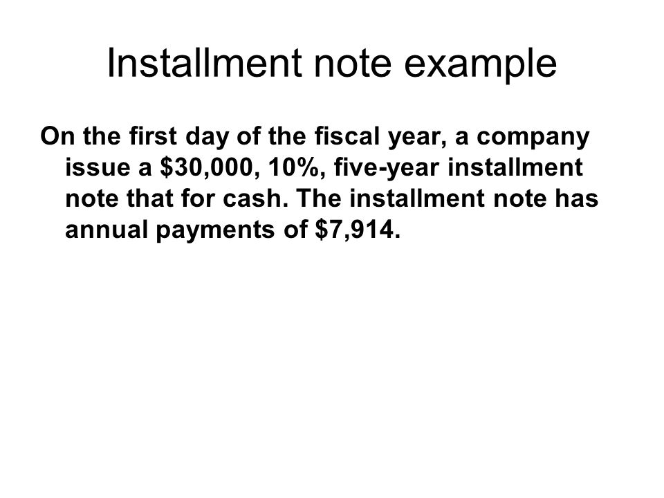 Installment note example