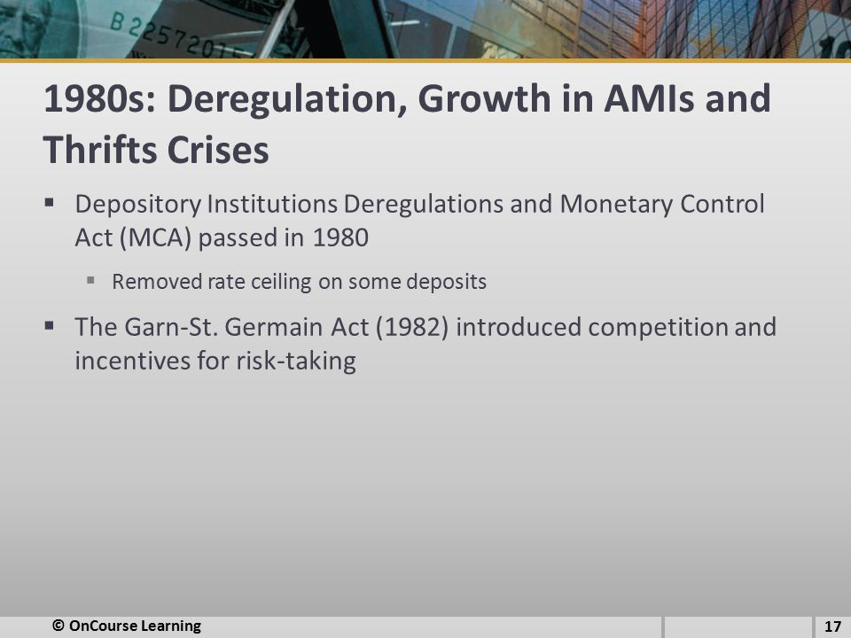 1980s: Deregulation, Growth in AMIs and Thrifts Crises