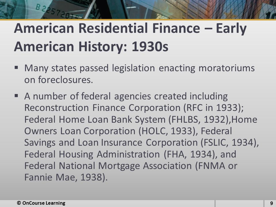 American Residential Finance – Early American History: 1930s