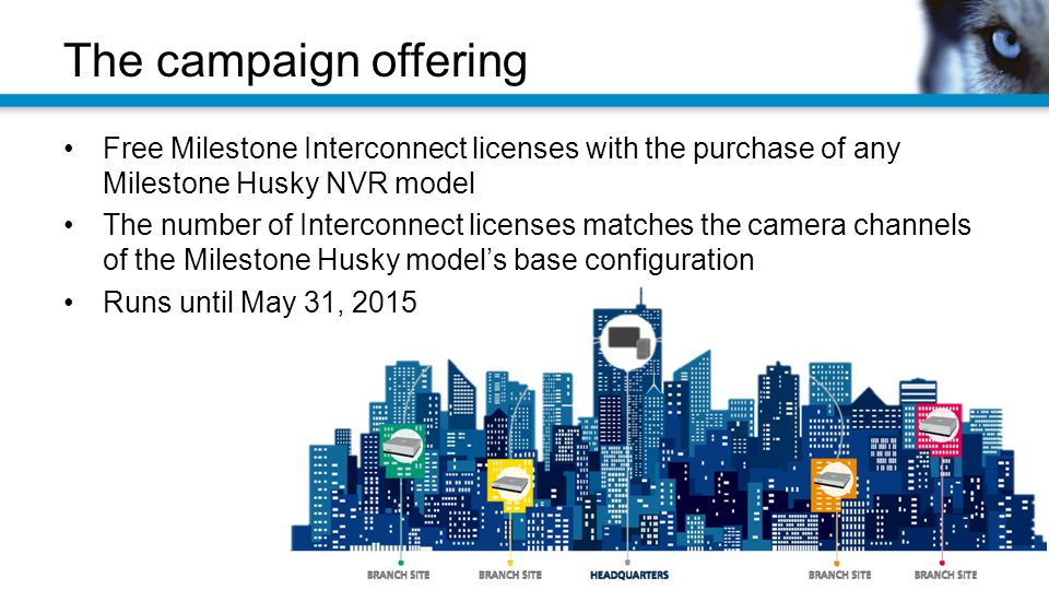 The campaign offering Free Milestone Interconnect licenses with the purchase of any Milestone Husky NVR model.