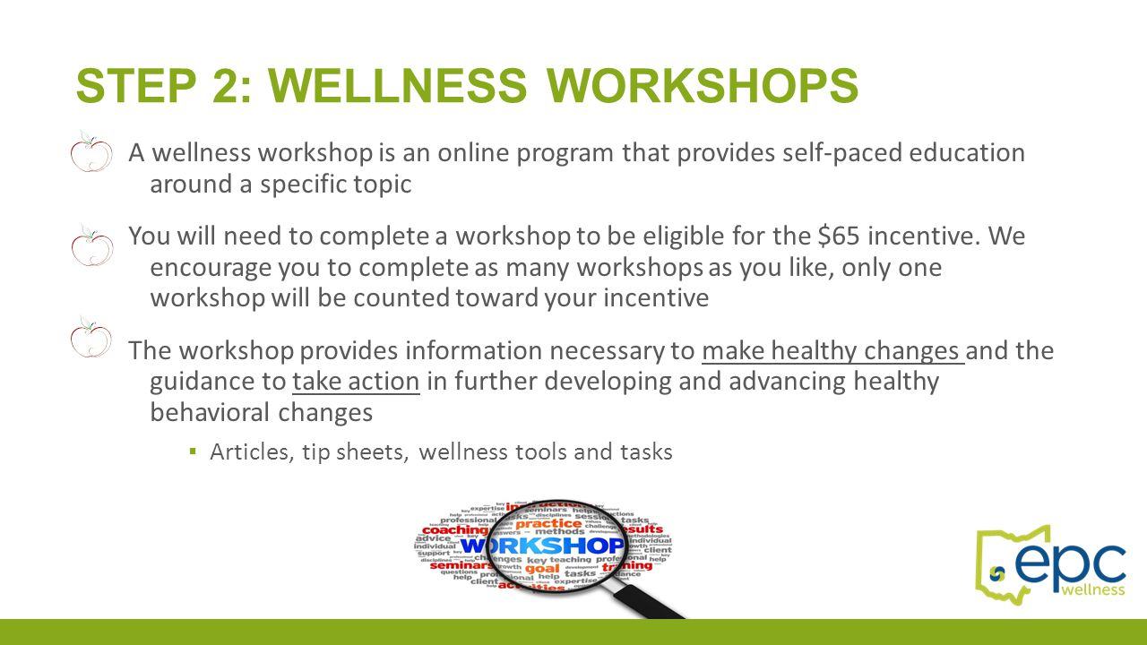 Step 2: Wellness workshops