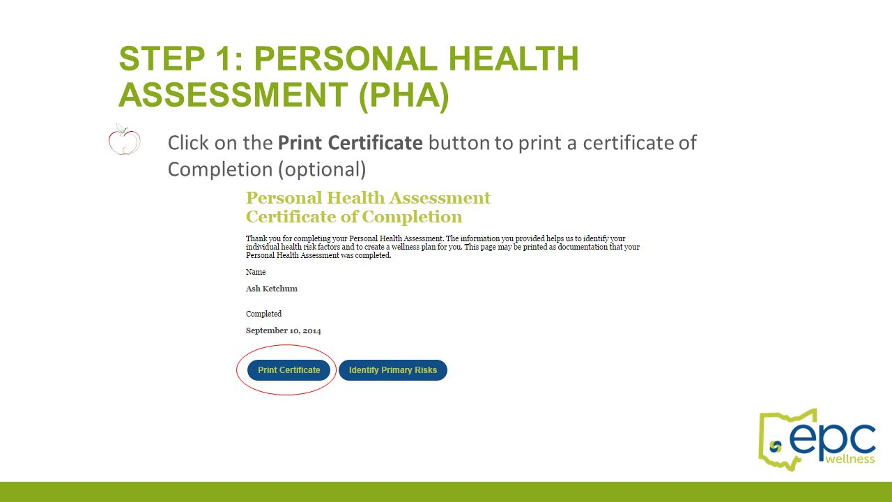 Step 1: Personal health assessment (PHA)