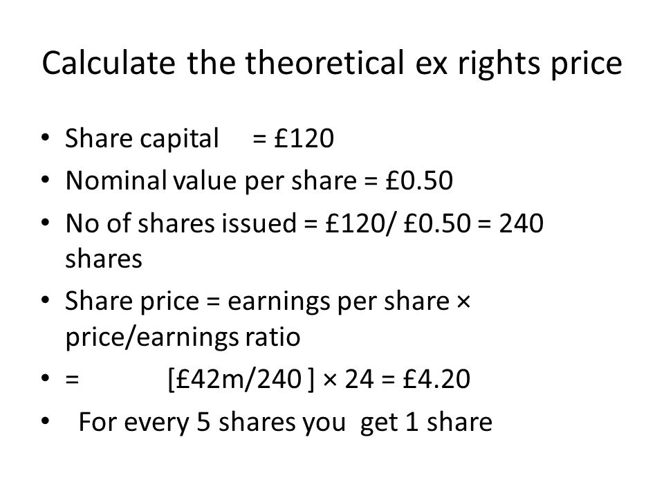 Calculate the theoretical ex rights price