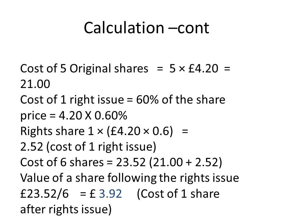 Calculation –cont Cost of 5 Original shares = 5 × £4.20 = 21.00