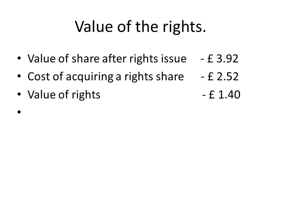 Value of the rights. Value of share after rights issue - £ 3.92