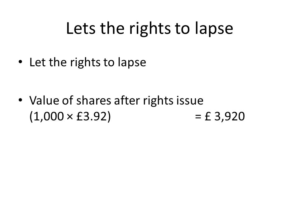 Lets the rights to lapse