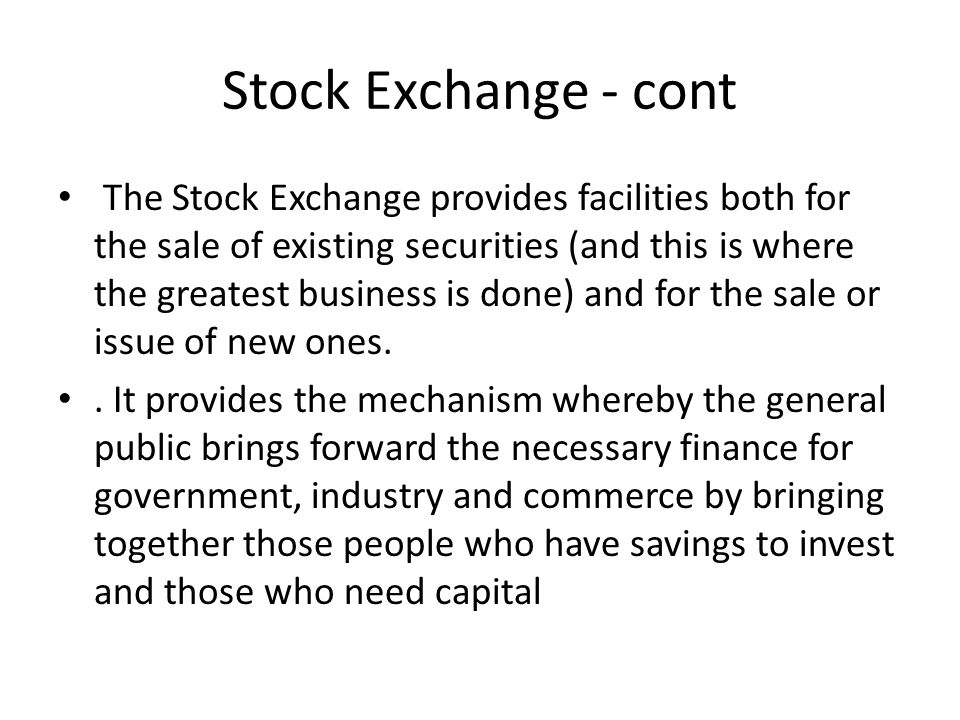 Stock Exchange - cont