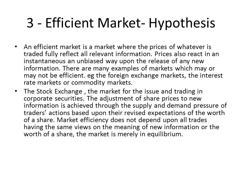 3 - Efficient Market- Hypothesis