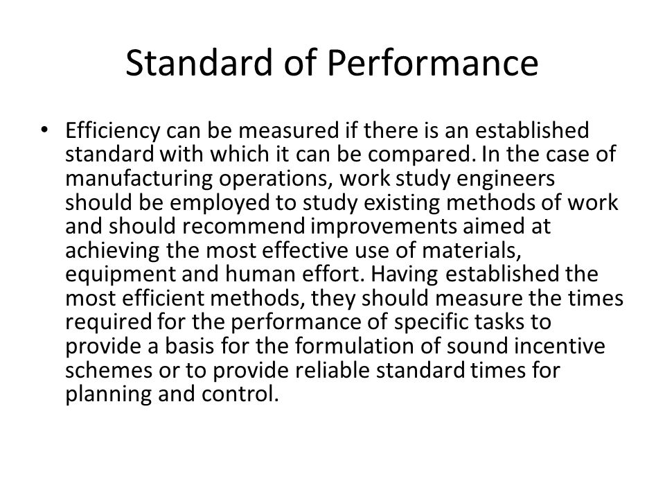 Standard of Performance