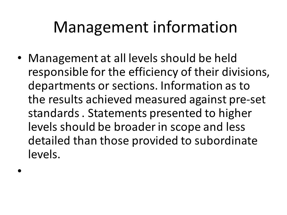 Management information
