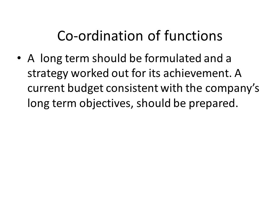 Co-ordination of functions