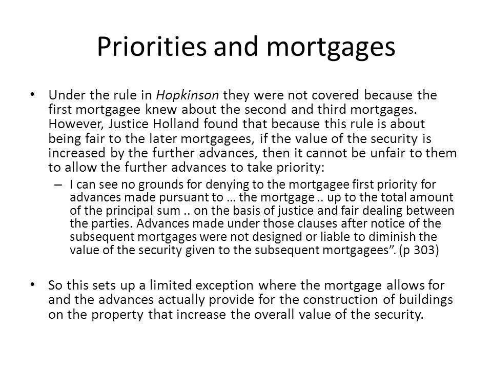 Priorities and mortgages
