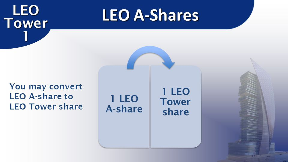 LEO A-Shares LEO Tower 1 1 LEO Tower share 1 LEO A-share