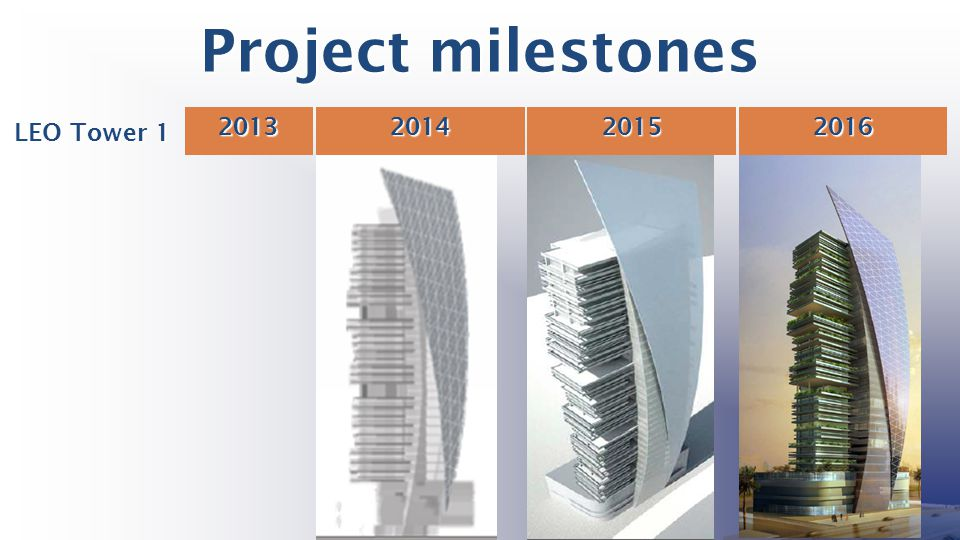 Project milestones 2013 2014 2015 2016 LEO Tower 1