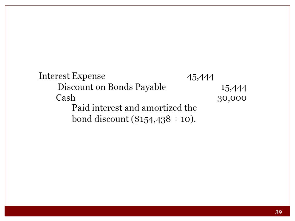 Interest Expense 45,444 Discount on Bonds Payable 15,444.