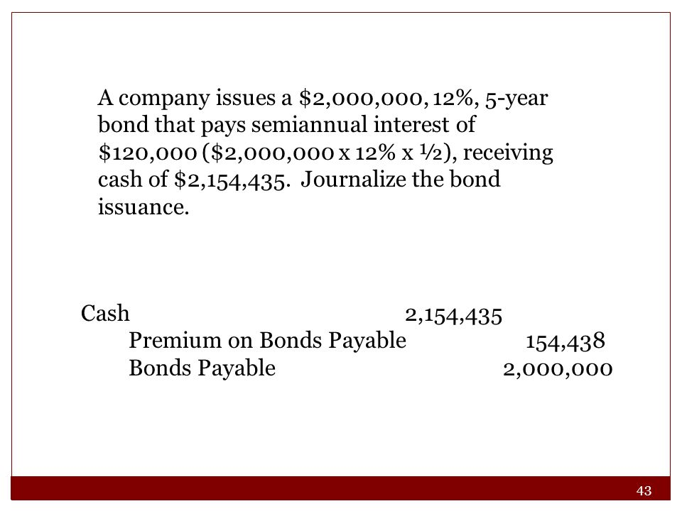 A company issues a $2,000,000, 12%, 5-year bond that pays semiannual interest of $120,000 ($2,000,000 x 12% x ½), receiving cash of $2,154,435. Journalize the bond issuance.