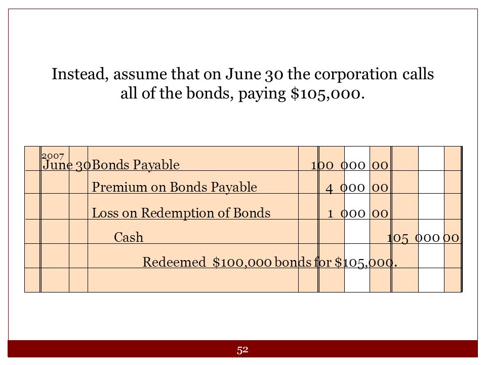 Instead, assume that on June 30 the corporation calls all of the bonds, paying $105,000. June 30 Bonds Payable 100 000 00.