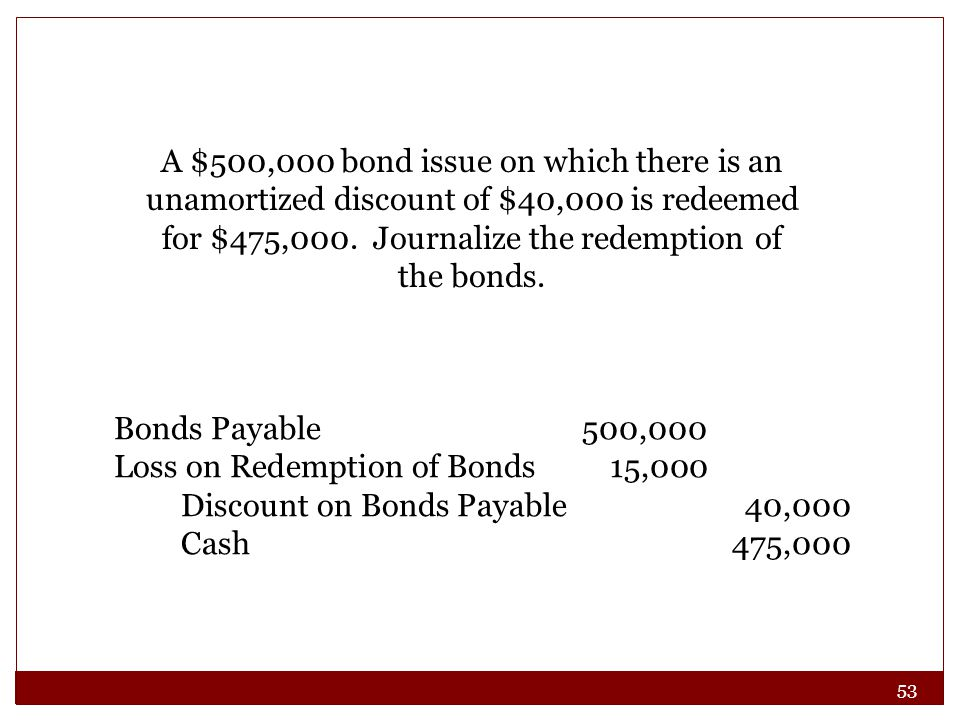 A $500,000 bond issue on which there is an unamortized discount of $40,000 is redeemed for $475,000. Journalize the redemption of the bonds.