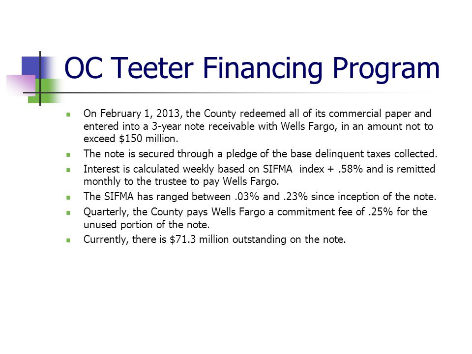 OC Teeter Financing Program