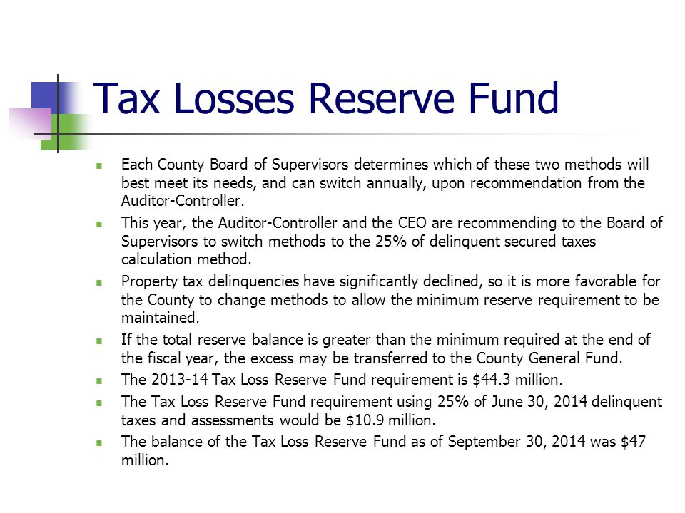 Tax Losses Reserve Fund
